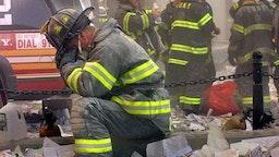 Firefighter Weeps At Ground Zero, Sept. 11 2001