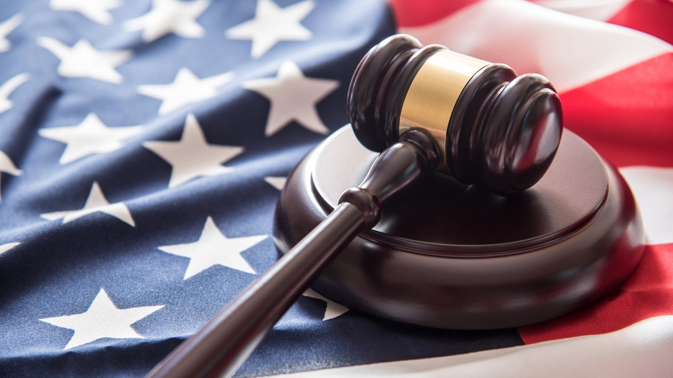 gavel justice hammer on USA flag background