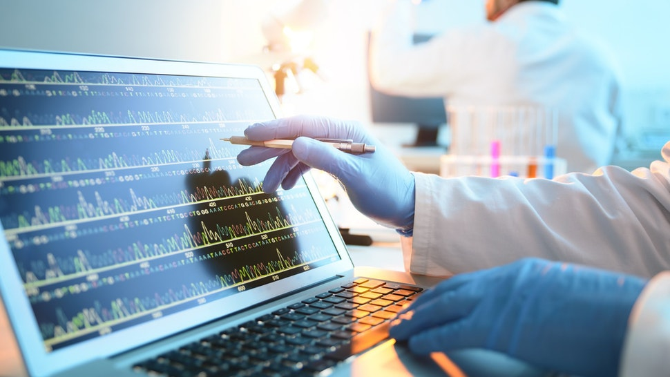 A geneticist studies a genetic sequence on a computer.