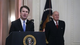 Brett Kavanaugh, associate justice of the U.S. Supreme Court, speaks during a ceremonial swearing-in event in the East Room of the White House in Washington, D.C., U.S., on Monday, Oct. 8, 2018.