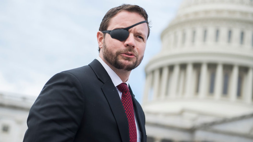 Rep.-elect Dan Crenshaw, R-Texas, is seen after the freshman class photo on the East Front of the Capitol on November 14, 2018. (Photo By Tom Williams/CQ Roll Call)