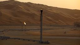 Flames burn off at an oil processing facility in Saudi Aramco's oilfield in the Rub' Al-Khali (Empty Quarter) desert in Shaybah, Saudi Arabia, on Tuesday, Oct. 2, 2018.
