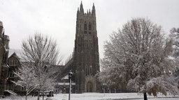 DURHAM, NC - DECEMBER 09: A general view of the Duke Chapel on the campus of Duke University as snow falls from Winter Storm Diego on December 9, 2018 in Durham, North Carolina.