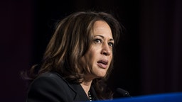 WASHINGTON, DC - APRIL 10: Sen. Kamala Harris (D-CA) speaks during the North American Building Trades Unions Conference at the Washington Hilton April 10, 2019 in Washington, DC. Many Democrat presidential hopefuls attended the conference in hopes of drawing the labor vote.