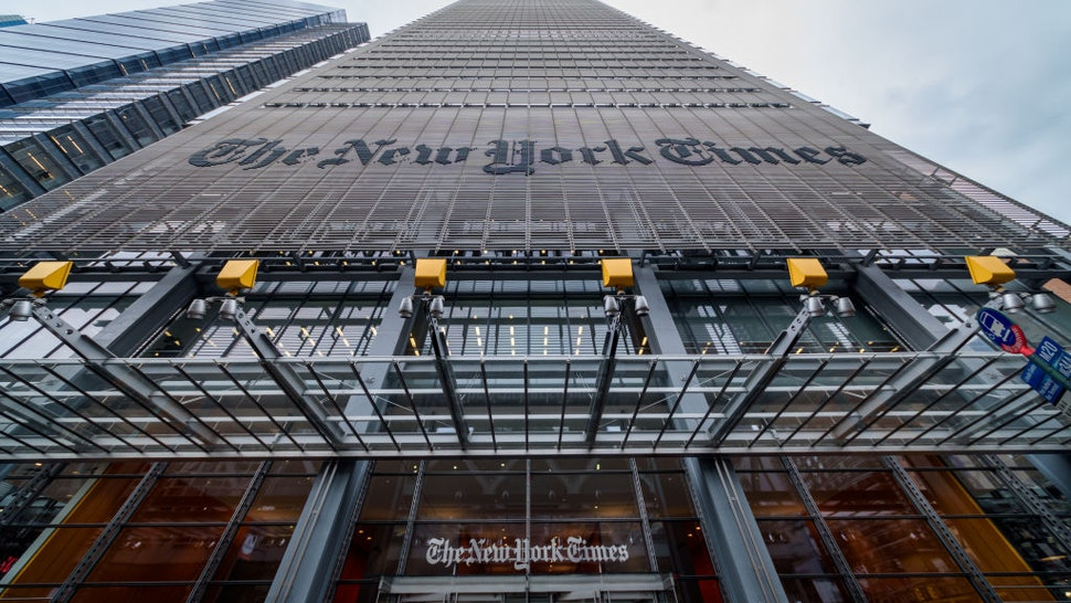 NEW YORK TIMES HEADQUARTERS, NEW YORK, UNITED STATES - 2019/04/29: New York Times Headquarters - Jewish organizations held a protest outside The New York Times offices, over the alleged anti-Semitic cartoon published in the newspaper depicting Israeli Prime Minister Benjamin Netanyahu as a dog on a leash held by a blind President Donald Trump.