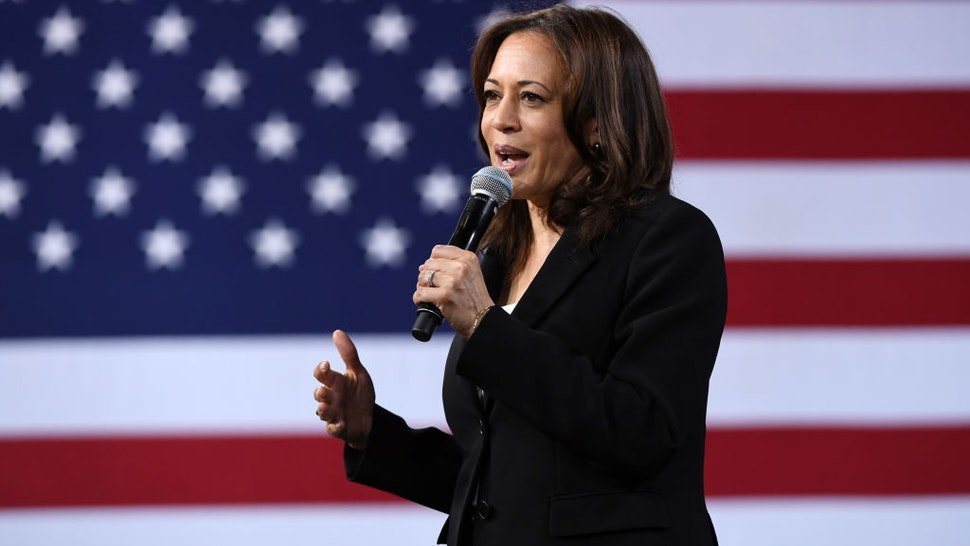 LAS VEGAS, NEVADA - APRIL 27: Democratic presidential candidate U.S. Sen. Kamala Harris (D-CA) speaks at the National Forum on Wages and Working People: Creating an Economy That Works for All at Enclave on April 27, 2019 in Las Vegas, Nevada. Six of the 2020 Democratic presidential candidates are attending the forum, held by the Service Employees International Union and the Center for American Progress Action Fund, to share their economic policies.
