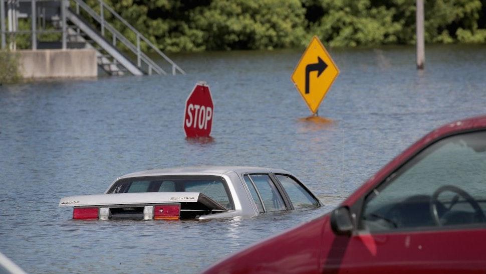 Car under water.