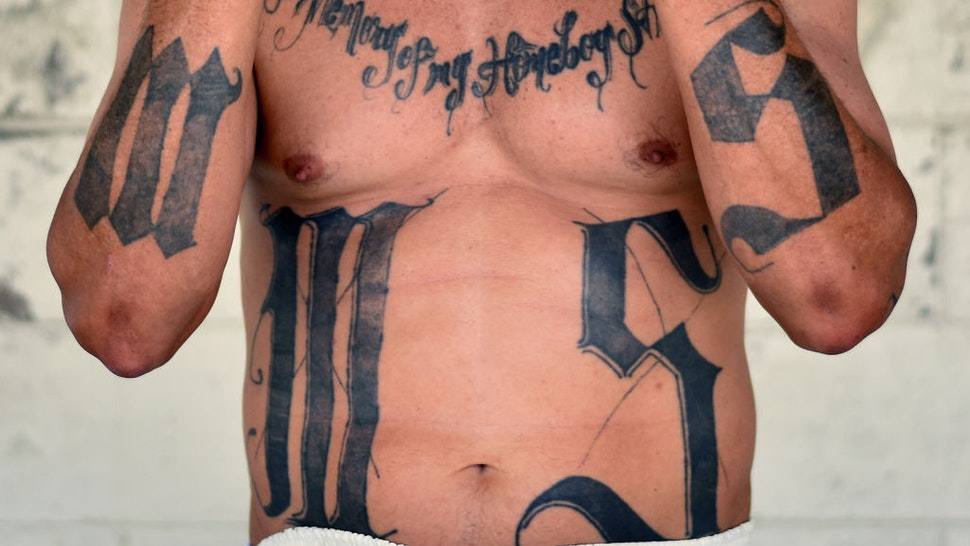 Former MS-13 gang leader Valmis Mejia a.k.a. 'el Bambi', is pictured at Santa Ana prison, 60 km northwest of San Salvador, on May 21, 2019.