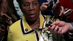 Rep. Sheila Jackson Lee speaks to members of the media outside the room where former White House communications director Hope Hicks testified at a closed-door interview with the House Judiciary Committee June 19, 2019 on Capitol Hill in Washington, DC.