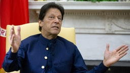 Imran Khan, Pakistan's prime minister, speaks during a meeting with U.S. President Donald Trump, not pictured, in the Oval Office of the White House in Washington, D.C., U.S., on Monday, July 22, 2019.