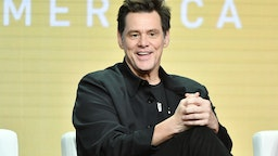 """Jim Carrey of """"Kidding"""" speaks during the Showtime segment of the 2019 Summer TCA Press Tour at The Beverly Hilton Hotel on August 2, 2019 in Beverly Hills, California."""