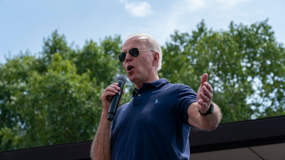 Democratic presidential hopeful former Vice President Joe Biden speaks at the Des Moines Register Political Soapbox during a visit to the Iowa State Fair on August 8, 2019, in Des Moines, Iowa