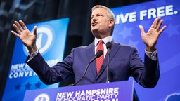 MANCHESTER, NH - SEPTEMBER 07: Democratic presidential candidate, New York City Mayor Bill de Blasio speaks during the New Hampshire Democratic Party Convention at the SNHU Arena on September 7, 2019 in Manchester, New Hampshire. Nineteen presidential candidates will be attending the New Hampshire Democratic Party convention for the state's first cattle call before the 2020 primaries.