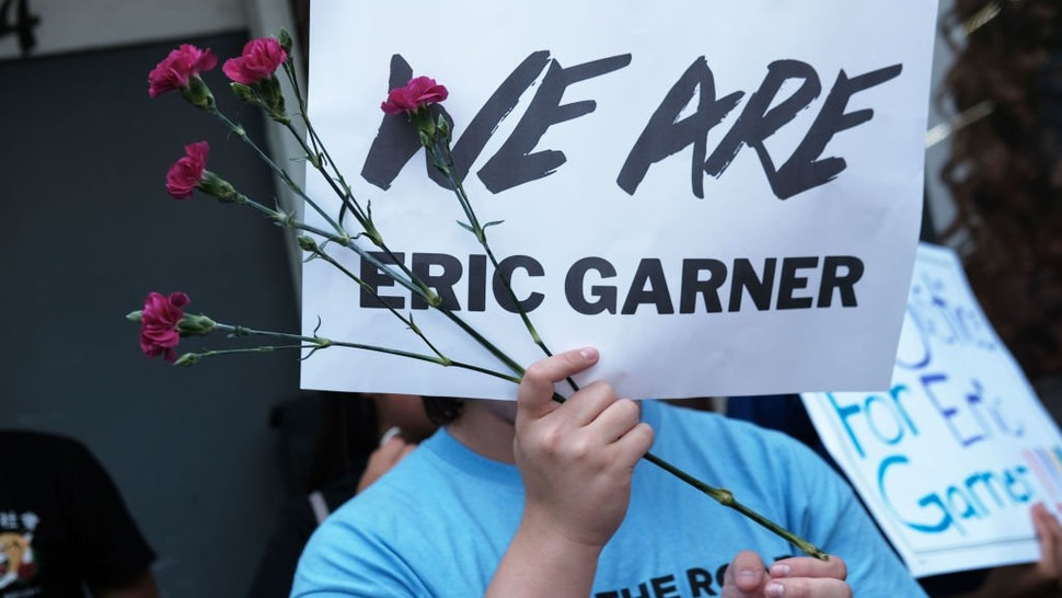 New York City students and youth activists participate in a news conference and rally to commemorate the lives of Eric Garner and Delrawn Small, both of whom were killed by police in different incidents, on August 08, 2019 in New York City.