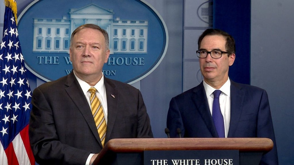 WASHINGTON, DC - SEPTEMBER 10: U.S. Secretary of State Mike Pompeo (L) and Treasury Secretary Steven Mnuchin (R) brief reporters in the James Brady briefing room at the White House on September 10, 2019 in Washington, DC, United States