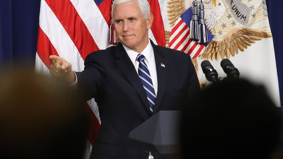 U.S. Vice President Mike Pence concludes his remarks during a naturalization ceremony September 17, 2019 in Washington, DC.