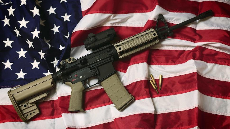 AR-15 assault rifle on American flag