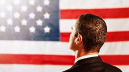 Man and American Flag