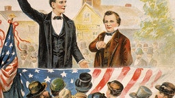 Illustration of Republican presidential candidate Abraham Lincoln debating his opponent Steven Douglas in front of a crowd, circa 1858