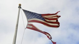 Tattered American Flag After Hurricane Sandy