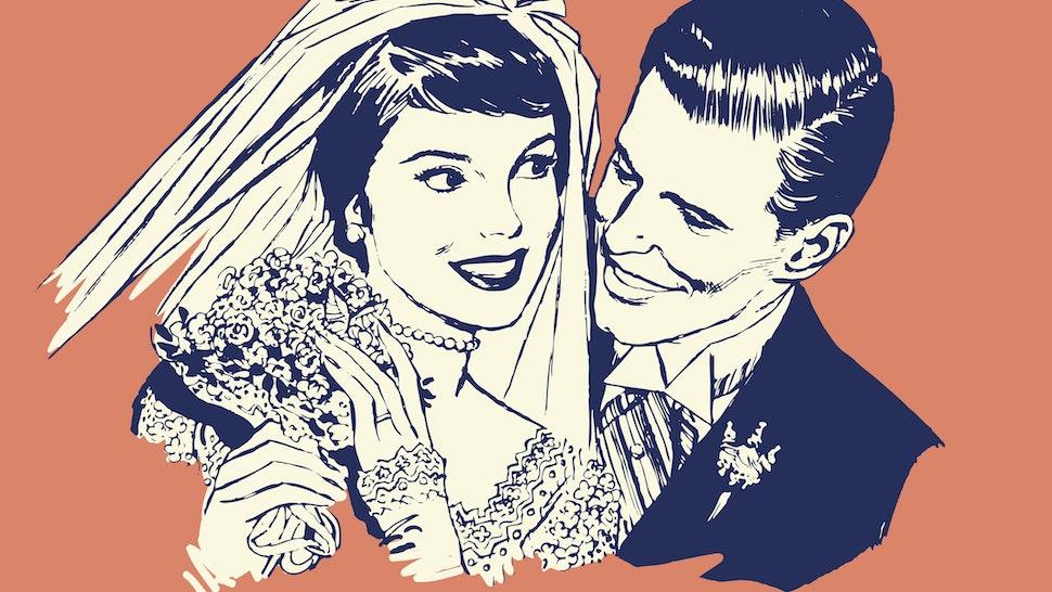 cartoon image of a newly married couple