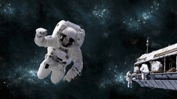 Artists concept of astronaut floating in outer space while his fellow astronauts work on the space station. A galactic scene serves as background.