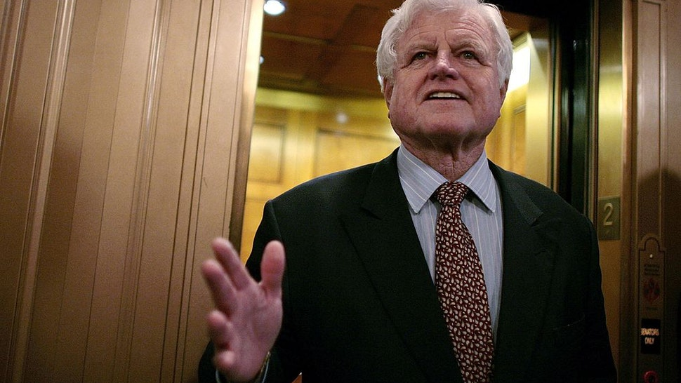 WASHINGTON - JANUARY 30: Senator Ted Kennedy (D-MA) talks with the news media after walking off the floor of the US Senate after a roll call vote to achieve cloture on the nomination of Judge Samuel Alito to the US Supreme Court passed 72 to 25 January 30, 2006 in Washington, DC. Kennedy had threatened to filibuster the cloture vote but failed to get the support he needed.