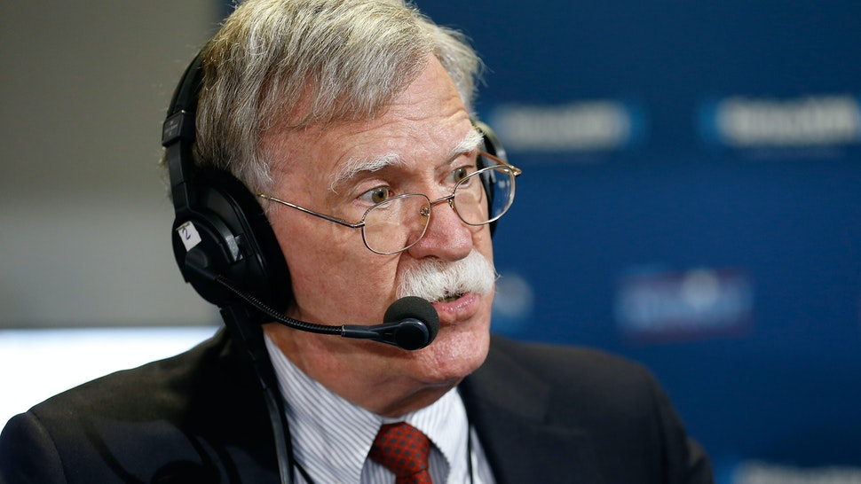 """Former ambassador John Bolton sits down to talk with Andrew Wilkow on his show """"The Wilkow Majority"""" at Quicken Loans Arena on July 20, 2016 in Cleveland, Ohio."""