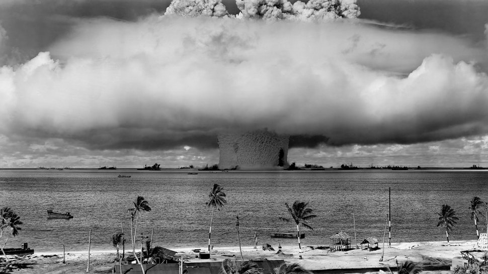 A nuclear weapon test by the American military at Bikini Atoll, Micronesia.