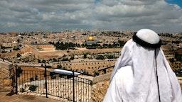Palestinian overlooking Old City Jerusalem