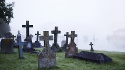 Crosses on gravestones in ethereal foggy cemetery