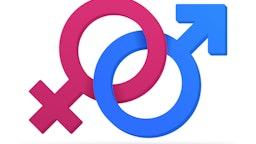 3D gender symbols connected together.