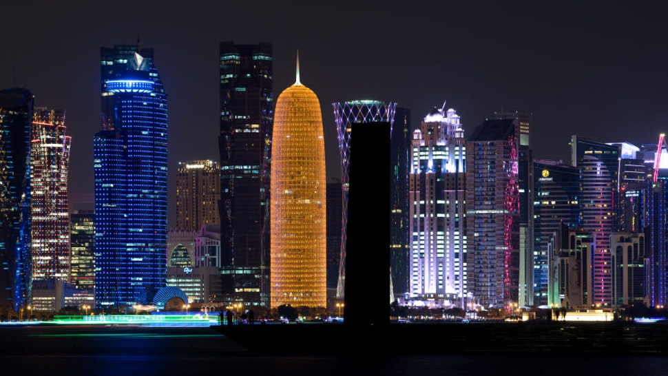 The skyline shines bright in the evening inDoha, Qatar, 05 January 2018. The FCBayern Munich squad is prepared itself between 02 and 07 January in Qatar for the remainder of the Bundesliga's season.