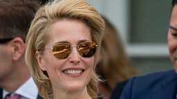 Gillian Anderson attends The Royal Windsor Cup Final at Guards Polo Club on June 23, 2019 in Egham, England.
