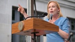 NEW YORK, NEW YORK - JUNE 28: United States Senator Kirsten Gillibrand addresses attendees during the Stonewall 50th Commemoration rally during WorldPride NYC 2019 on June 28, 2019 in New York City.