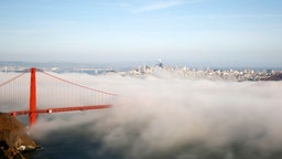SAN FRANCISCO, USA - JULY 18: Heavy fog blankets the Golden Gate Bridge in San Francisco, United States on July 18, 2019.
