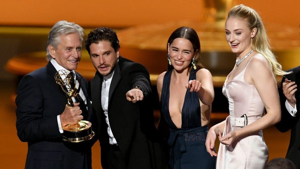 """""""Game of Thrones"""" actors celebrate on stage."""