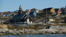 Zion Lutheran Church, built in 1779, stands on Disko Bay
