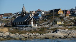 Zion Lutheran Church, built in 1779, stands on Disko Bay