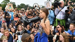 Swedish environment activist Greta Thunberg speaks at a climate protest outside the White House in Washington, DC on September 13, 2019.