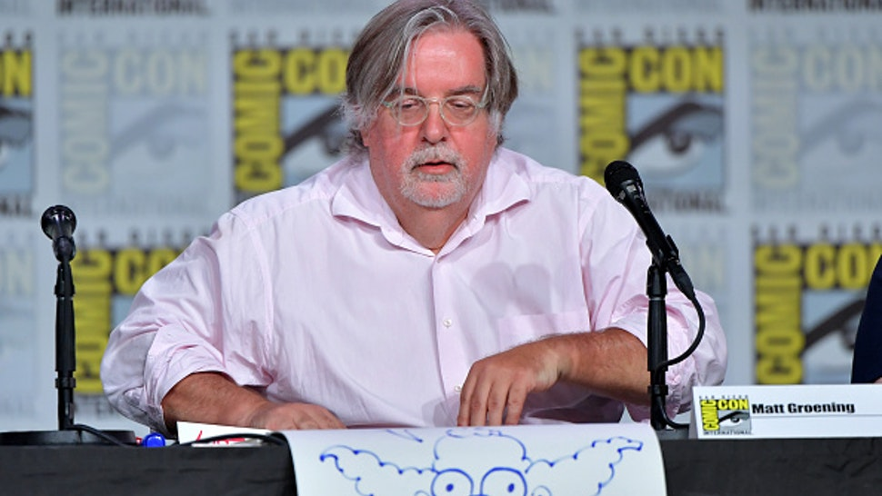 """Matt Groening speaks at """"The Simpsons"""" Panel during 2019 Comic-Con International at San Diego Convention Center on July 20, 2019 in San Diego, California."""