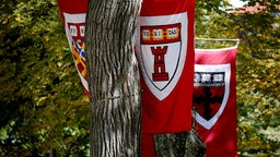 Banners hang for the inauguration of Harvard University's 29th president, Larry Bacow, at the campus in Cambridge, MA on Oct. 5, 2018.