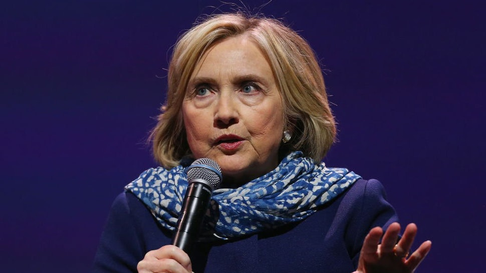 Hillary Clinton speaks during An Evening With Hillary Rodham Clinton at ICC Sydney on May 11, 2018 in Sydney, Australia.