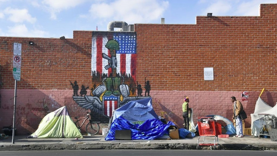 Makeshift tents house the homeless on a street, November 10, 2017 in Los Angeles, California, home to one of the nation's largest homeless populations.