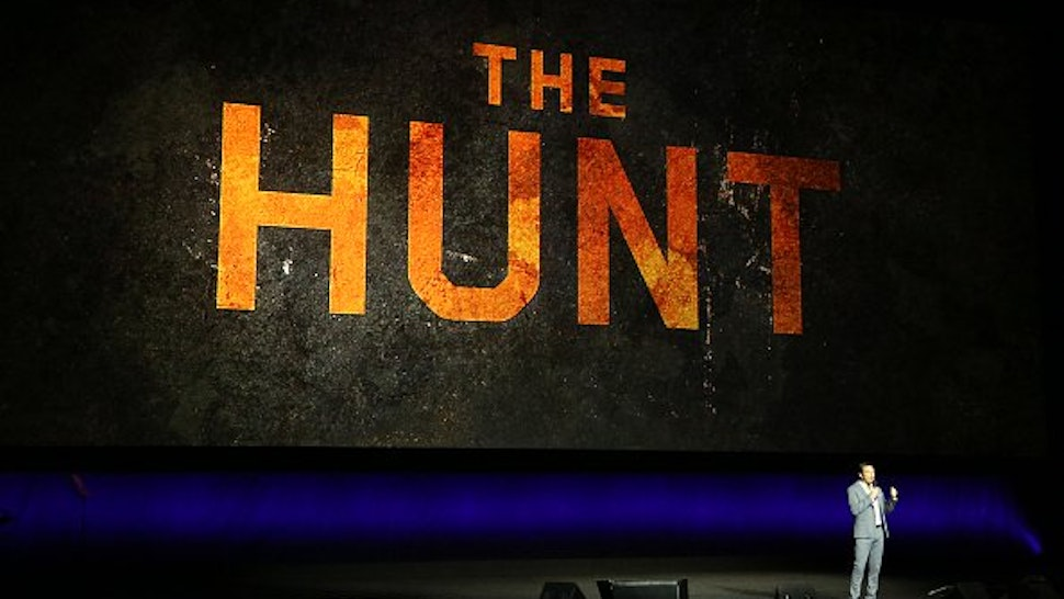 "Producer Jason Blum talks about the upcoming movie ""The Hunt"" during Universal Pictures special presentation during CinemaCon at The Colosseum at Caesars Palace on April 03, 2019 in Las Vegas, Nevada."