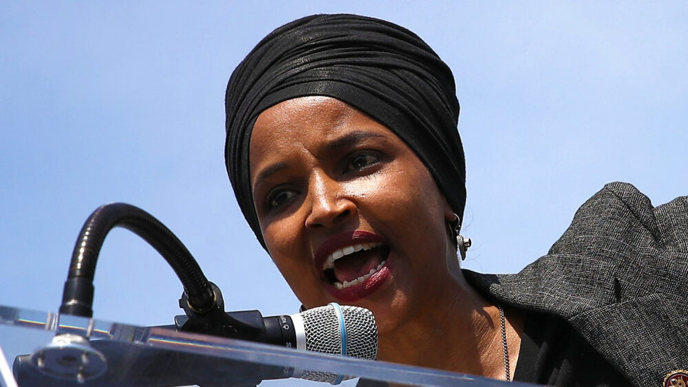 """WASHINGTON, DC - APRIL 30: Rep. Ilhan Omar (D-MN) speaks at an event outside the U.S. Capitol April 30, 2019 in Washington, DC. Omar and others called for """"Democratic leaders Speaker Nancy Pelosi and Senate Minority Leader Chuck Schumer censure President Trump for inciting violence against Congresswoman Ilhan Omar."""""""
