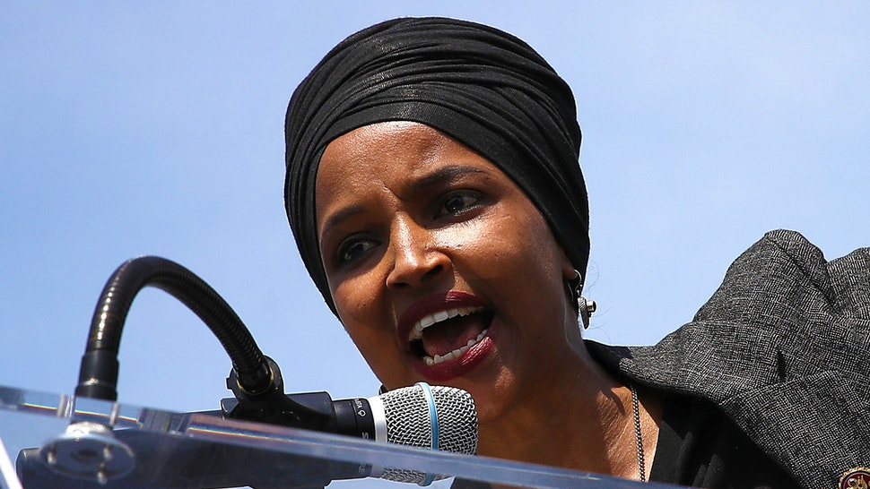 "WASHINGTON, DC - APRIL 30: Rep. Ilhan Omar (D-MN) speaks at an event outside the U.S. Capitol April 30, 2019 in Washington, DC. Omar and others called for ""Democratic leaders Speaker Nancy Pelosi and Senate Minority Leader Chuck Schumer censure President Trump for inciting violence against Congresswoman Ilhan Omar."""
