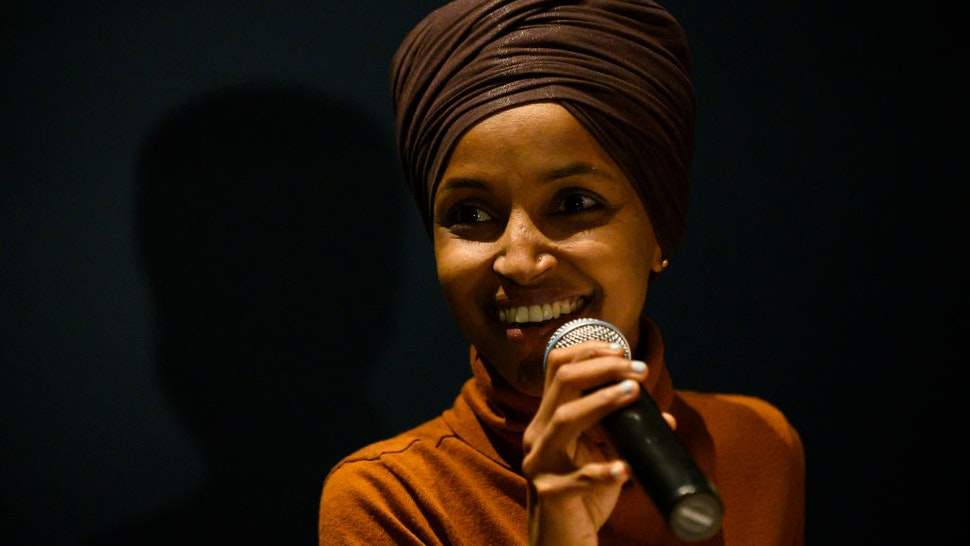 MINNEAPOLIS, MN - AUGUST 27: Rep. Ilhan Omar (D-MN) speaks during a community forum on immigration at the Colin Powell Center on August 27, 2019 in Minneapolis, Minnesota. Omar joined a panel to discuss immigration policy.