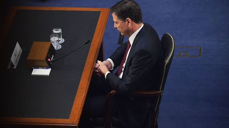 Former FBI director James Comey speaks during a hearing before the Senate Select Committee on Intelligence on Capitol Hill June 8, 2017 in Washington, DC.