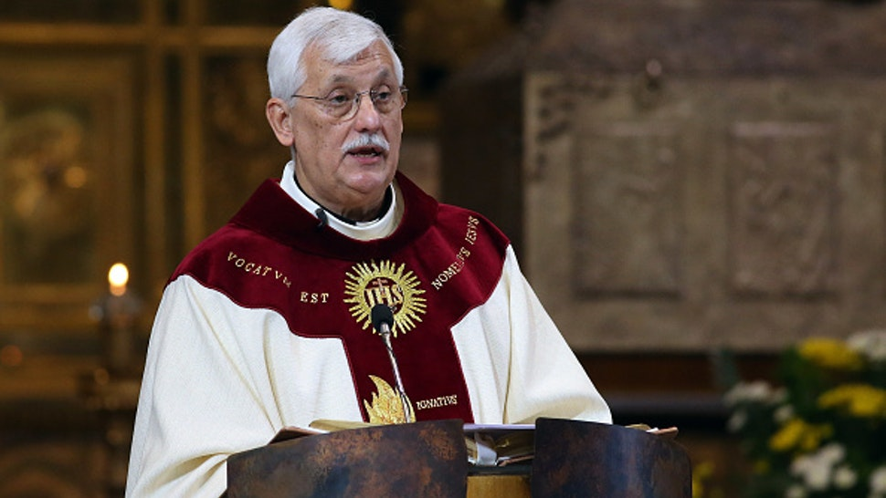 New Superior General of The Society of Jesus father Arturo Sosa Abascal delivers his first homily as leader of the Jesuits during the Thanksgiving Mass at the Church of Jesus, on October 15, 2016 in Rome, Italy.